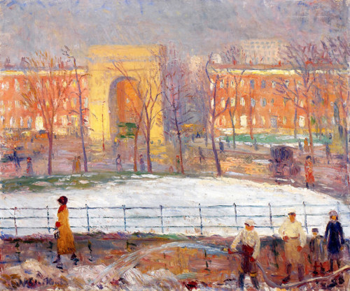 Street Cleaners, Washington Square By William James Glackens  By William James Glackens