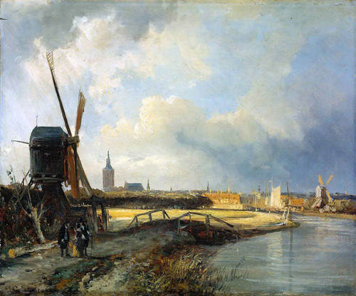 Study For View On Den Haag By Cornelius Springer