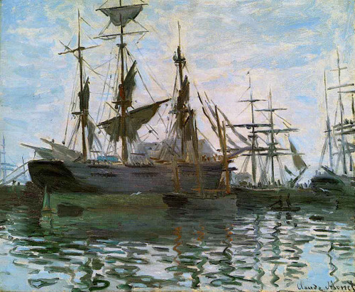 Study Of Boats By Claude Oscar Monet