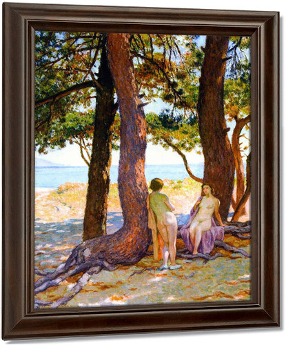 Beneath The Large Pines By Theo Van Rysselberghe Oil on Canvas Reproduction