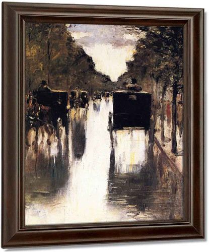 Berlin Avenue With Carriages By Lesser Ury