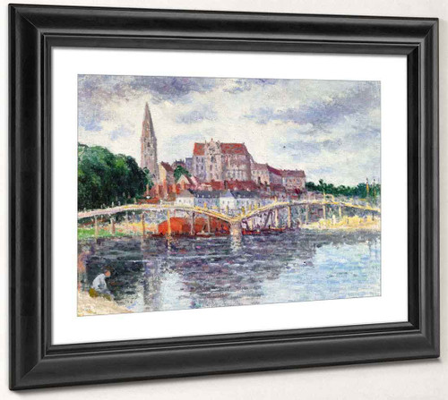 The Bridge Over The Yonne And The Cathedral By Maximilien Luce By Maximilien Luce