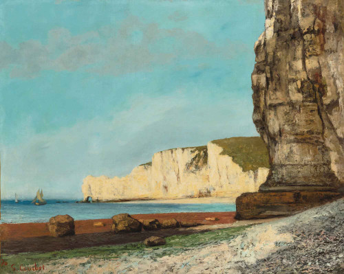 The Cliffs At Etretat By Gustave Courbet By Gustave Courbet
