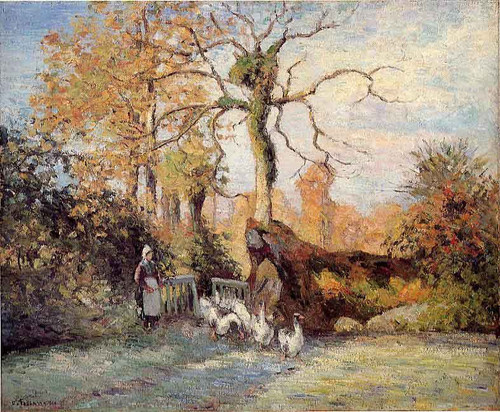 The Goose Girl At Montfoucault, White Frost By Camille Pissarro By Camille Pissarro