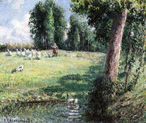 The Goose Girl By Camille Pissarro By Camille Pissarro