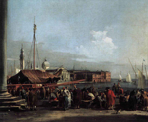 The Market At The Molo With The View Of San Giorgio Maggiore By Francesco Guardi