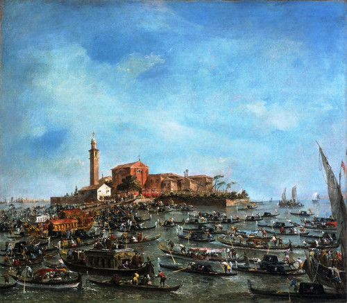 The Meeting Of Pope Pius Vi And Doge Paolo Renier At San Giorgio In Alga By Francesco Guardi