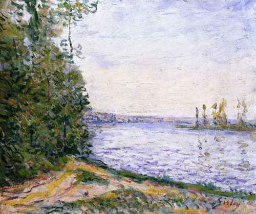 The Seine Near By By Alfred Sisley