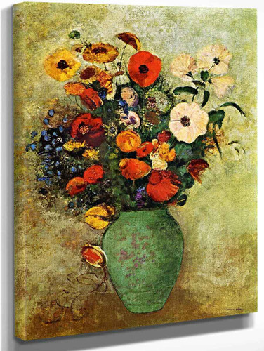 Bouquet Of Flowers In A Green Vase By Odilon Redon