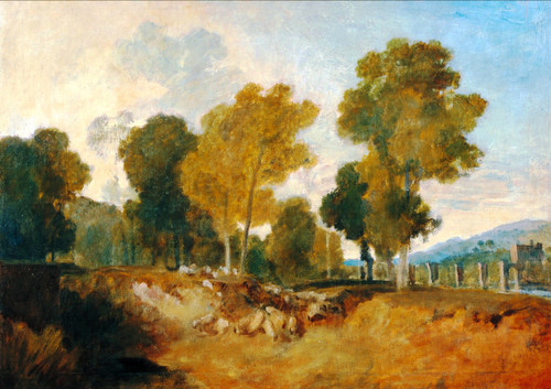 Trees Beside The River, With Bridge In The Middle Distance By Joseph Mallord William Turner