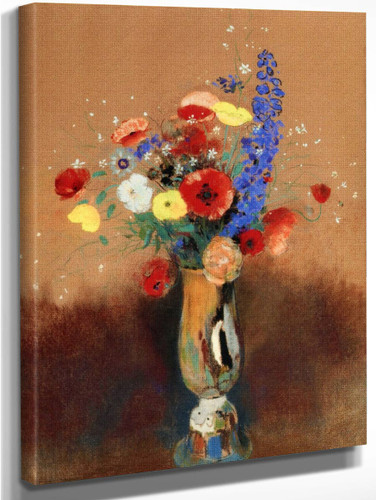 Bouquet Of Wild Flowers N A Long Necked Vase By Odilon Redon