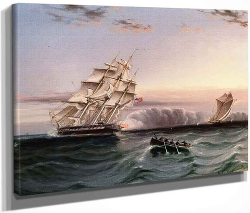 Us Frigate And Privateer By James E. Buttersworth By James E. Buttersworth