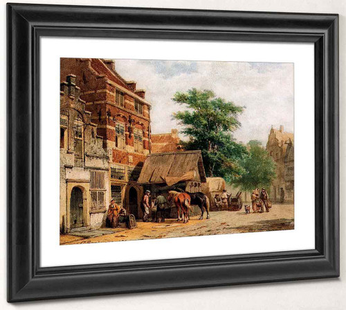 View In A Street, Culemborg, With A Blacksmith At Work By Cornelius Springer