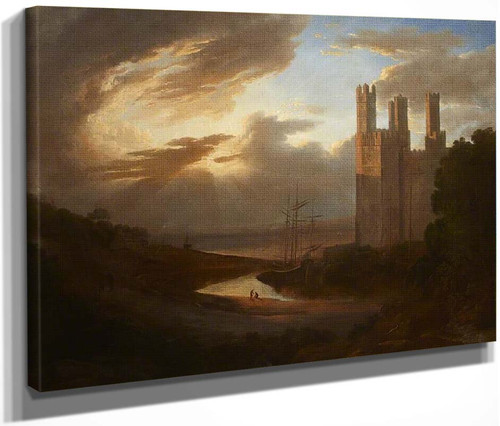 View Of Caernarvon Castle With The Menai Strait By Francis Danby