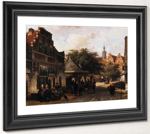 View Of Oudewater By Cornelius Springer