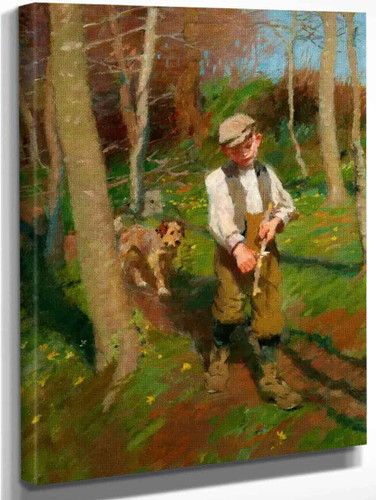 Boy Whittling A Stick By Harold Harvey