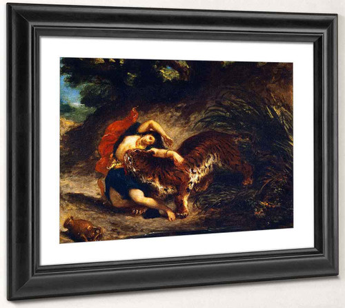Young Woman Attacked By A Tiger By Eugene Delacroix By Eugene Delacroix