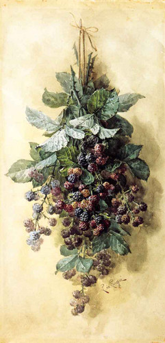 Blackberries By Raoul De Longpre By Raoul De Longpre