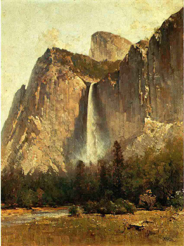 Bridal Veil Falls Yosemite Valley By Thomas Hill  By Thomas Hill