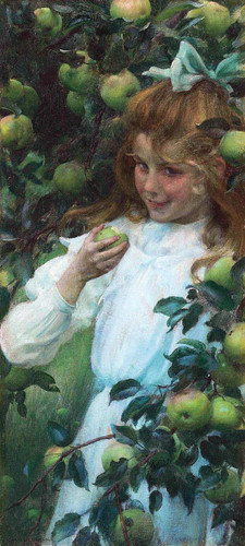 In The Orchard By Charles Courtney Curran By Charles Courtney Curran