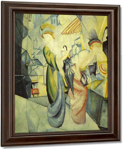 Bright Women In Front Of The Hat Shop By August Macke Oil on Canvas Reproduction
