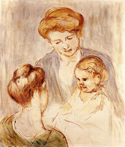 A Baby Smiling At Two Young Women By Mary Cassatt By Mary Cassatt