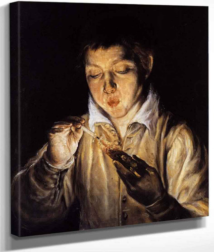 A Boy Blowing On An Ember To Light A Candle By El Greco By El Greco