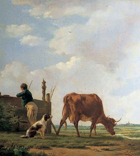 A Peasant Boy With A Cow And A Dog By Thomas Sidney Cooper By Thomas Sidney Cooper