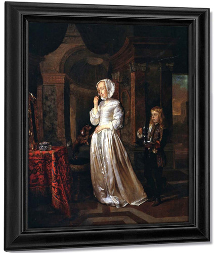 A Woman At Her Toilet With A Page By Gabriel Metsu