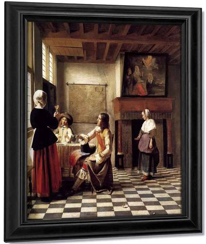 A Woman Drinking With Two Men By Pieter De Hooch