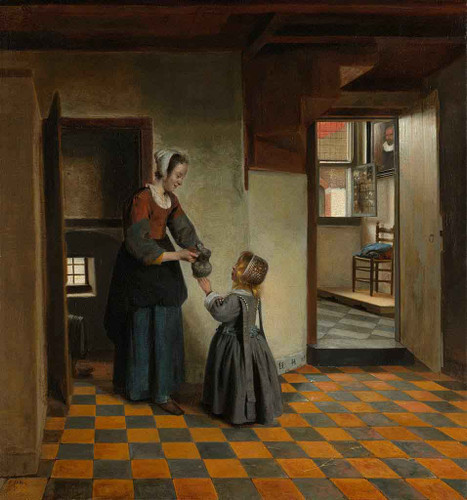 A Woman With A Child In A Pantry By Pieter De Hooch