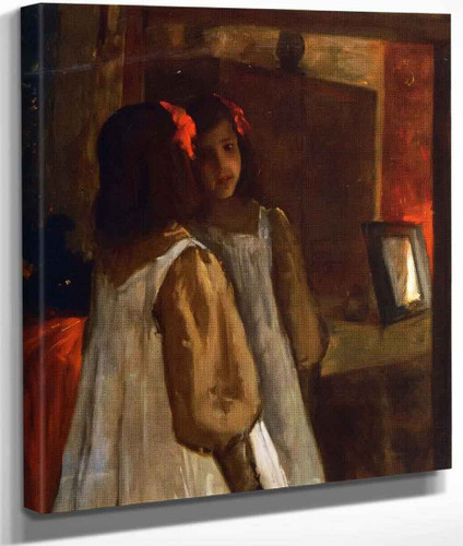 Alice In The Mirror By William Merritt Chase By William Merritt Chase