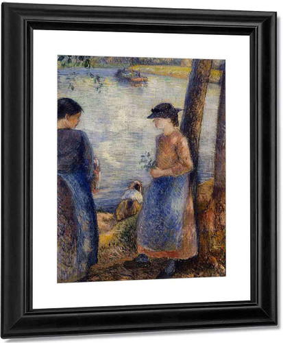 By The Water By Camille Pissarro