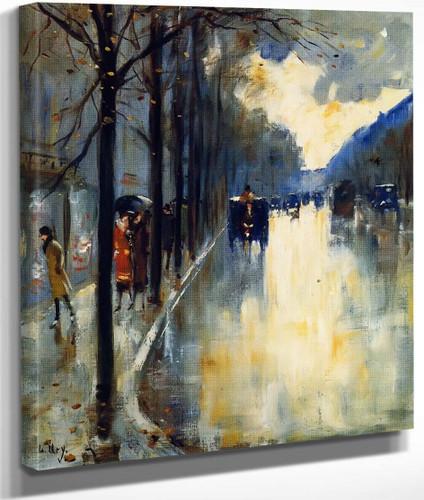 Berlin Street In Late Fall By Lesser Ury