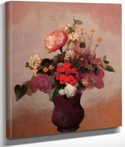 Flowers In Aa Brown Vase By Odilon Redon By Odilon Redon