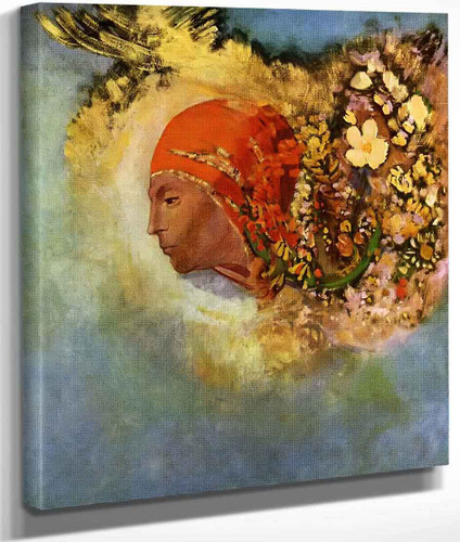 Head With Flowers By Odilon Redon By Odilon Redon