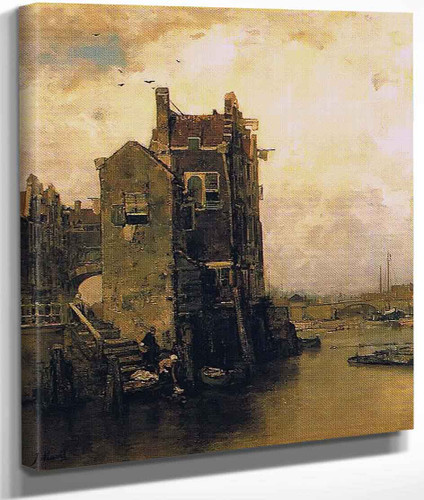 Houses And Washer Women In Dordrecht By Jacob Henricus Maris