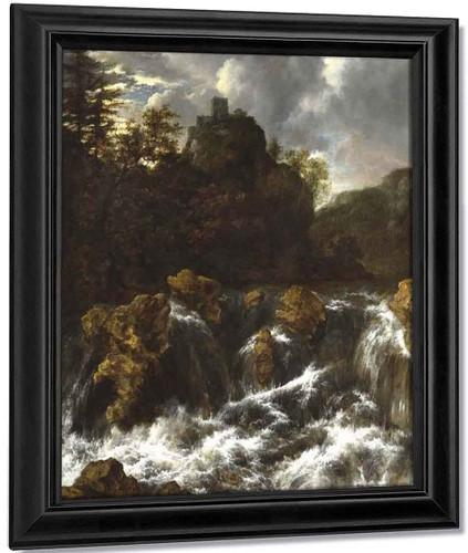 Landscape With Waterfall By Jacob Van Ruisdael
