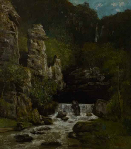 Landscape With Waterfall By Gustave Courbet By Gustave Courbet