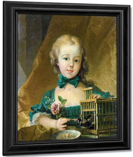 Portrait Of Alexandrine Le Normant Detiolles, Playing With A Goldfinch By Francois Boucher