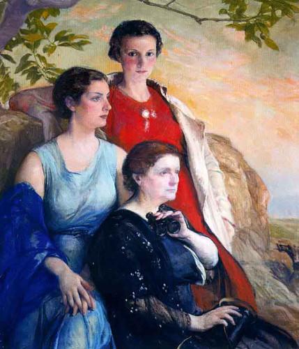 Retrato De La Mujer Del Artista Con Sus Hijas Carmen Y Josefina By Jose Mongrell Torrent