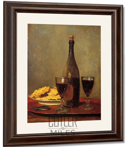 Still Life Two Glass Of Red Wine, A Bottle Of Wine; A Corkscrew And A Plate Of Biscuits On A Tray By Albert Anker