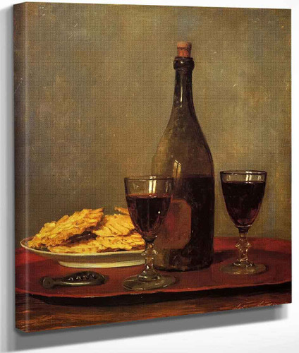 Still Life Two Glass Of Red Wine A Bottle Of Wine A Corkscrew And A Plate Of Biscuits On A Tray By Albert Anker