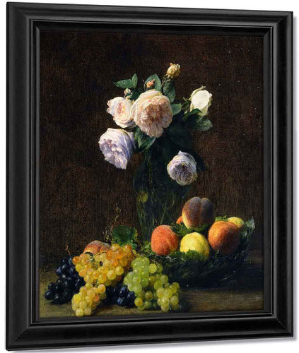 Still Life Vase Of Roses, Peaches And Grapes By Henri Fantin Latour By Henri Fantin Latour
