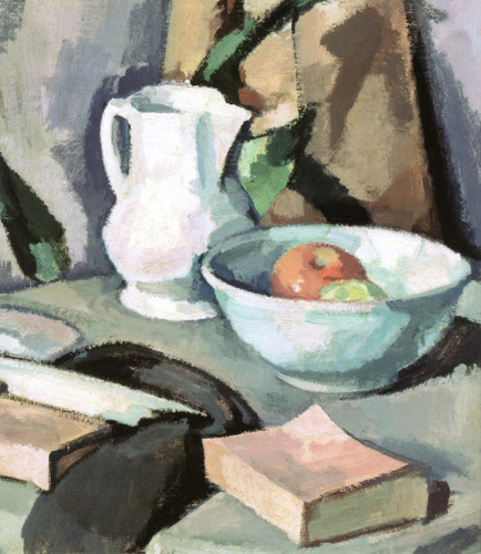 Still Life With A Jug And A Bowl Of Apples By Samuel John Peploe