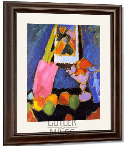Still Life With Apples And Violet Fruit Stand By Alexei Jawlensky By Alexei Jawlensky