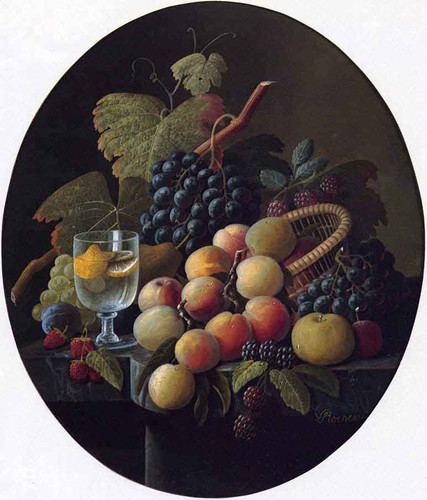 Still Life With Fruit And Wine Glass By Severin Roesen