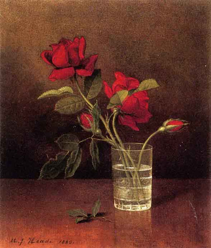 Still Life With Glass Of Roses By Martin Johnson Heade