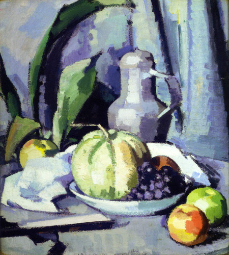 Still Life With Jug, Melon, Grapes And Apples By Samuel John Peploe