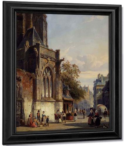 Town Square Before A Church A Capriccio By Cornelius Springer